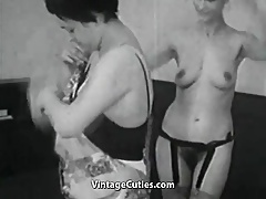 Mature coupled with Granny Lesbians in Bed (1950s Vintage)