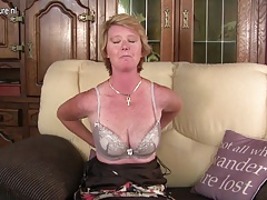 Naughty British grown-up mom playing all over the brush wet pussy