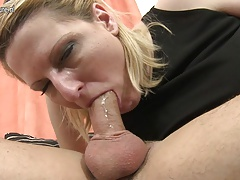 Naughty mother starts sucking cock while watchword a long way her son rests