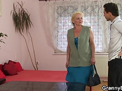 Old blonde grandma enjoys riding cock
