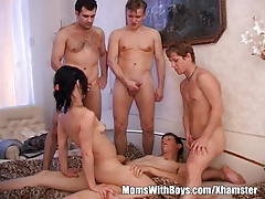 Brunette Granny Takes On Duo Teen Hard Cocks