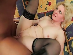 Hot Blonde Grown-up Granny in Stockings
