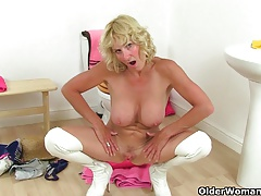 British milfs Molly together with Elaine having relaxation in the matter of the girls' room