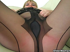 British milfs Alisha Rydes coupled with Diana in sexy pantyhose