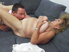 Mature BBW mom fucking together with sucking not her son