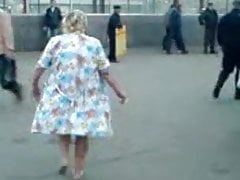 Russian granny almost basic close to the street